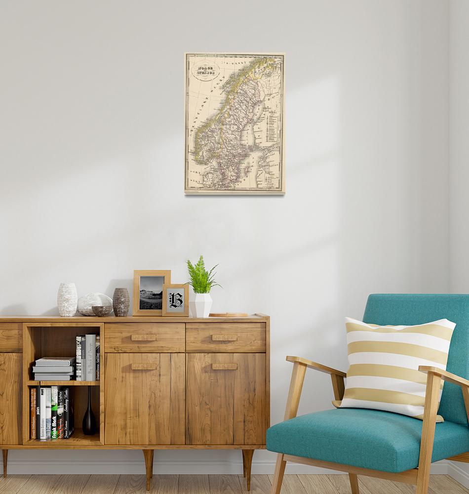 """""""Vintage Map of Scandinavia (1857)""""  by Alleycatshirts"""