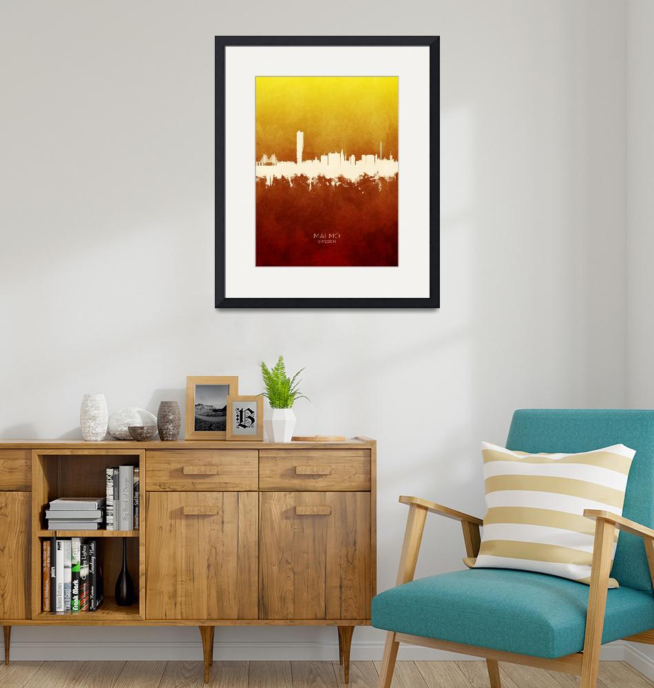 """Malmö Sweden Skyline""  (2019) by ModernArtPrints"