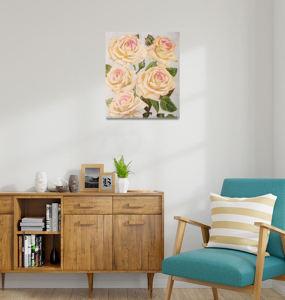 """""""Vintage White Rose Painting (1920)""""  by Alleycatshirts"""