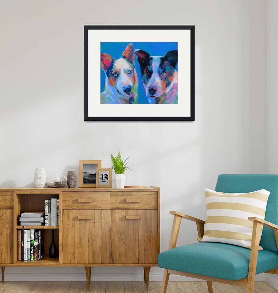 """""""Bailey n Milka, two aussi, cattle dog mixes""""  (2014) by lindbladstudios"""