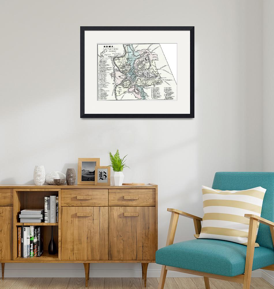 """""""Vintage Map of Rome Italy (1862)""""  by Alleycatshirts"""
