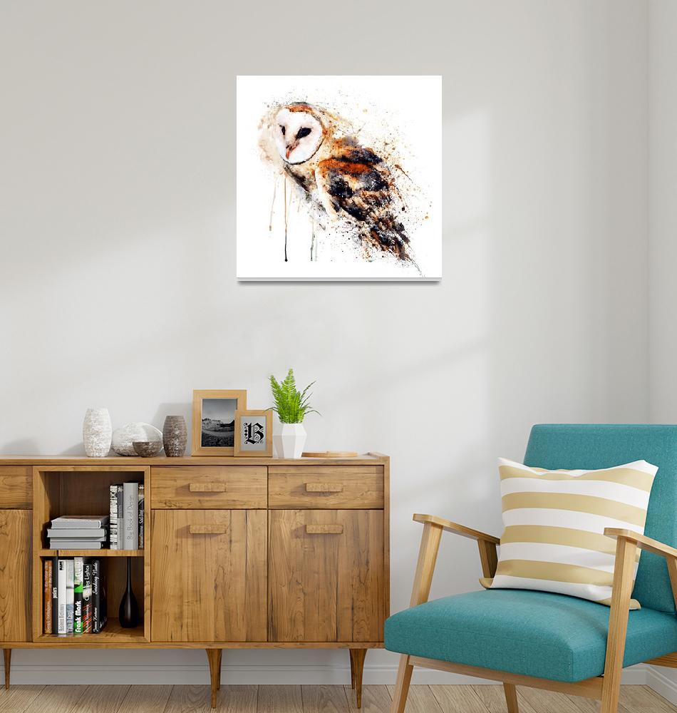 """""""Barn Owl Watercolor Painting""""  (2021) by MarianVoicu"""