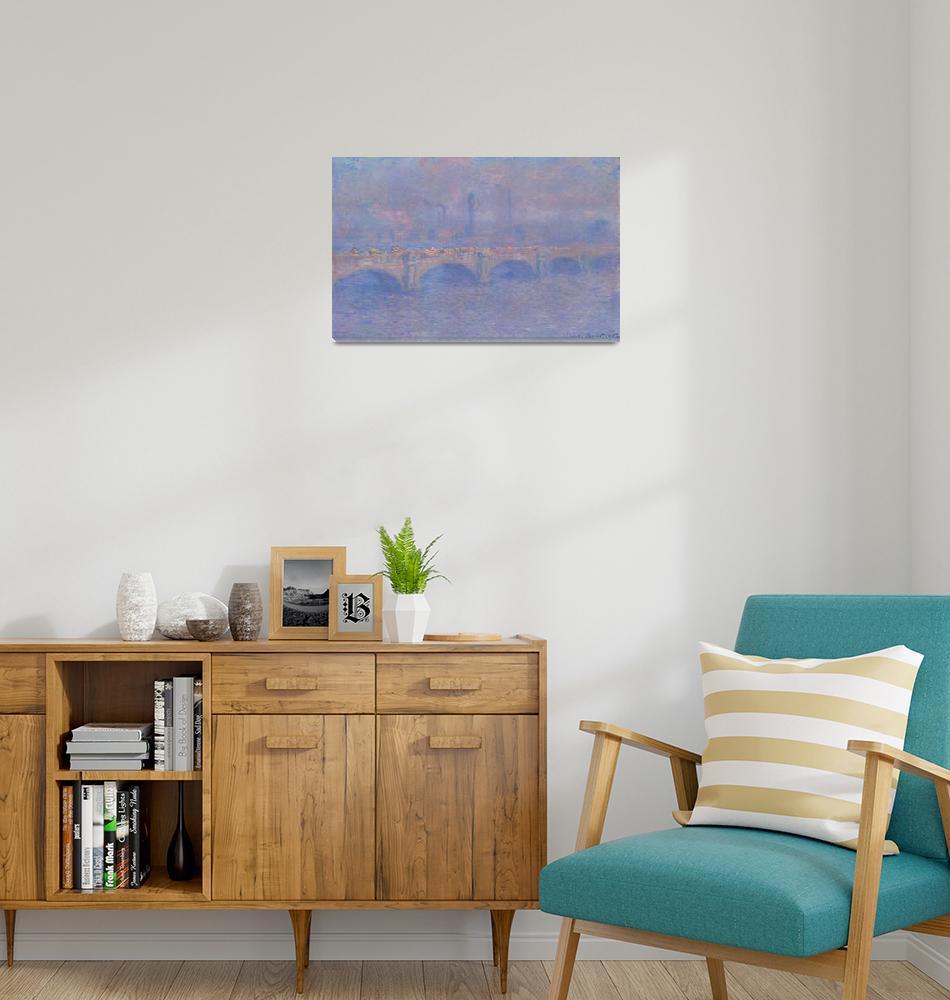 """""""Waterloo Bridge, Sunlight Effect by Monet""""  by FineArtClassics"""