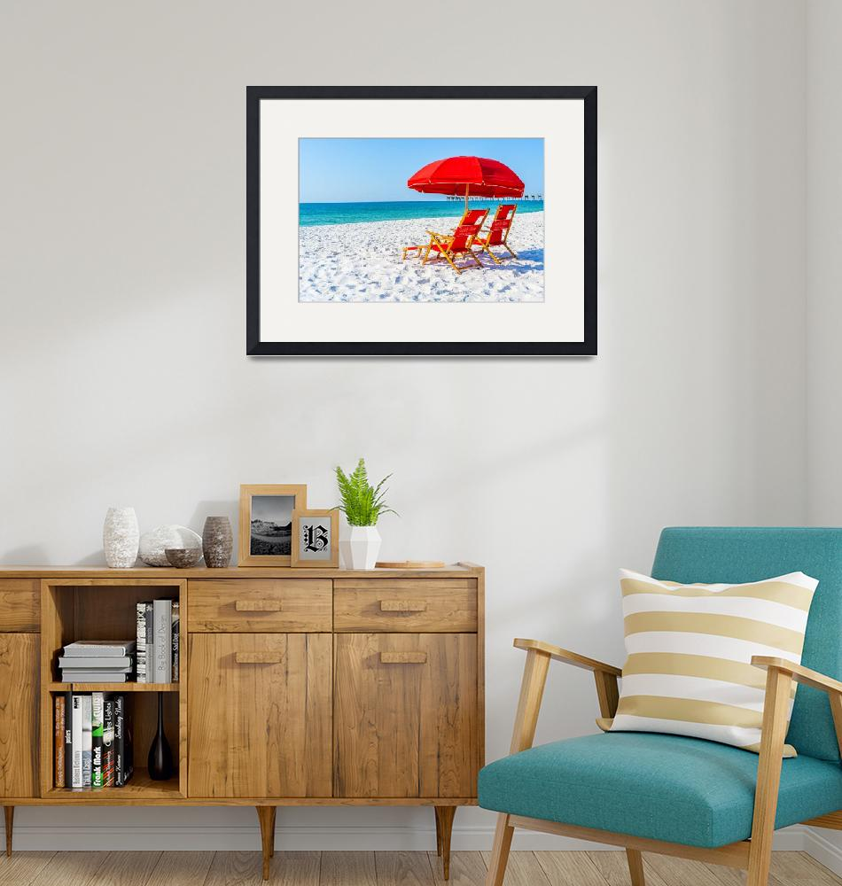"""""""Red Umbrellas at Beach""""  (2019) by beecreekphotography"""