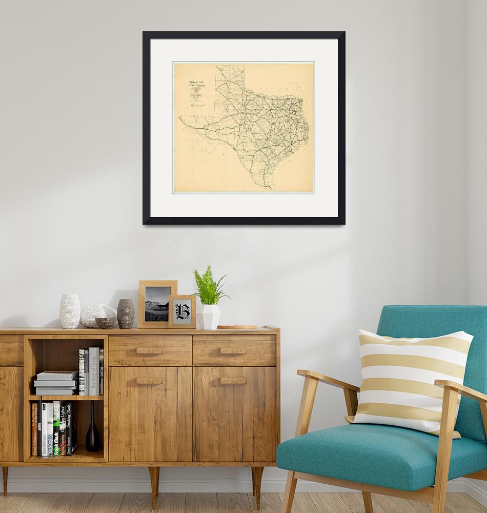 """""""Vintage Map of The Texas Highways (1922)"""" by Alleycatshirts"""