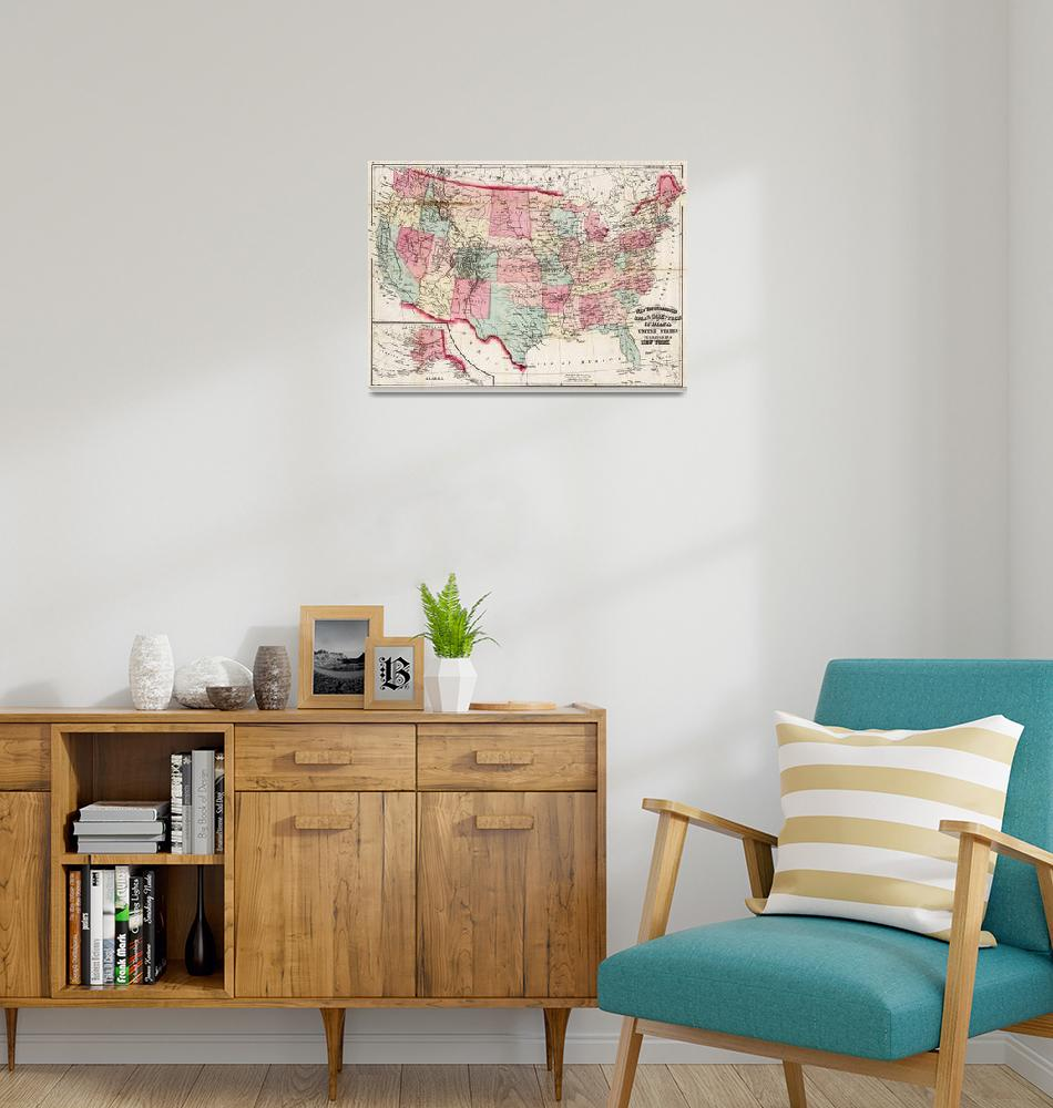 """""""Vintage United States Map (1870)""""  by Alleycatshirts"""