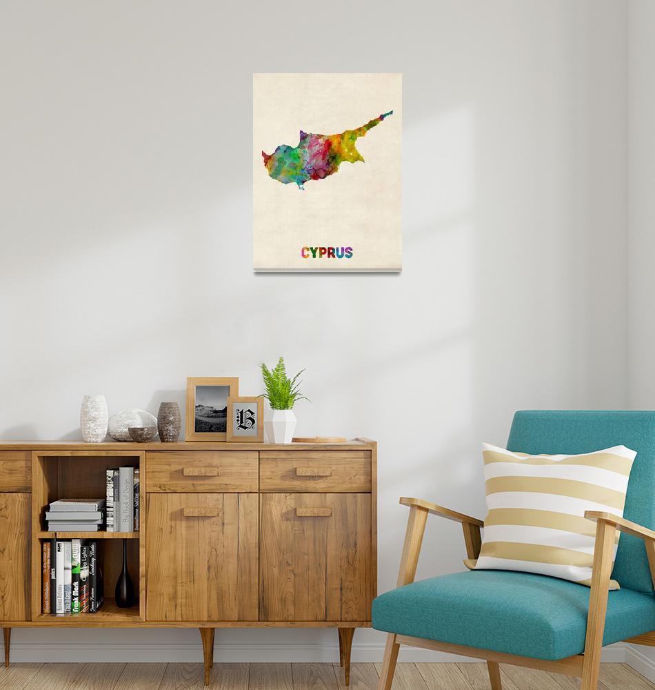 """Cyprus Watercolor Map""  (2013) by ModernArtPrints"