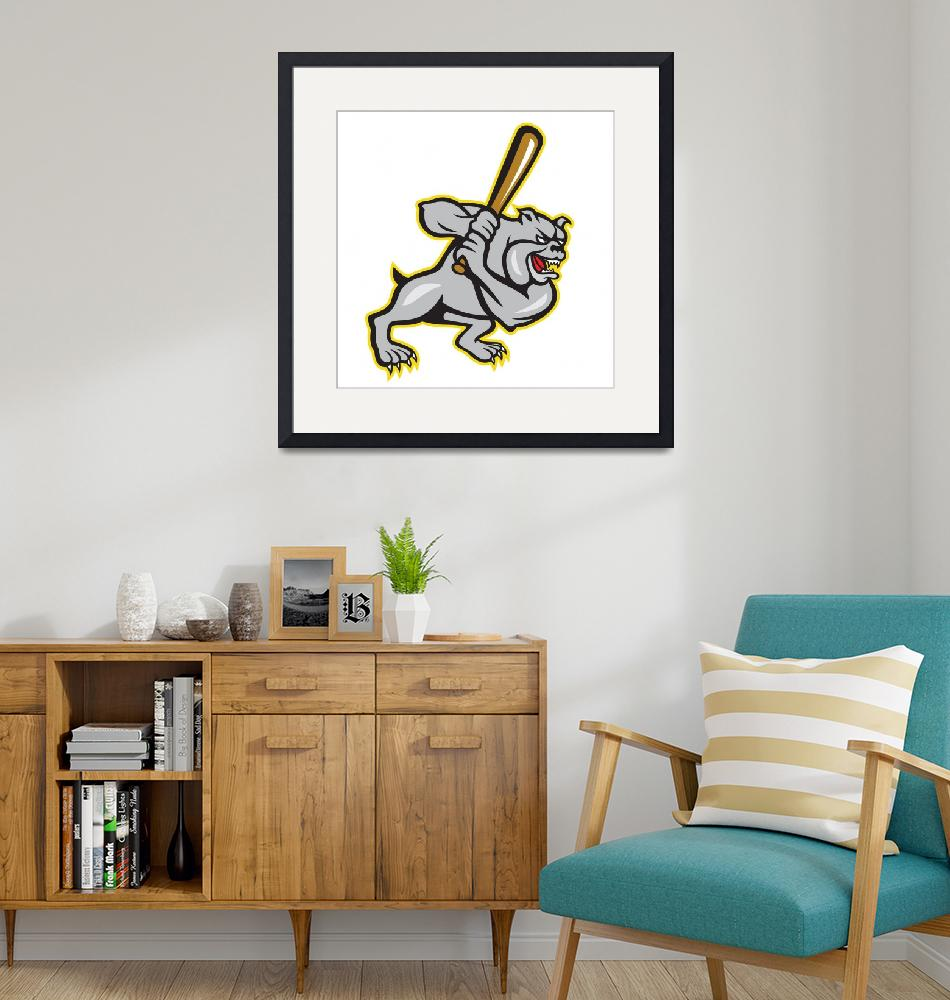 """Bulldog Dog Baseball Hitter Batting Cartoon"" (2013) by patrimonio"