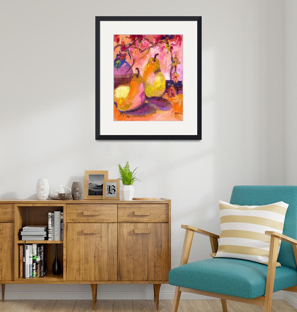 """""""Pears In Pink Modern Decorative Art""""  (2014) by GinetteCallaway"""