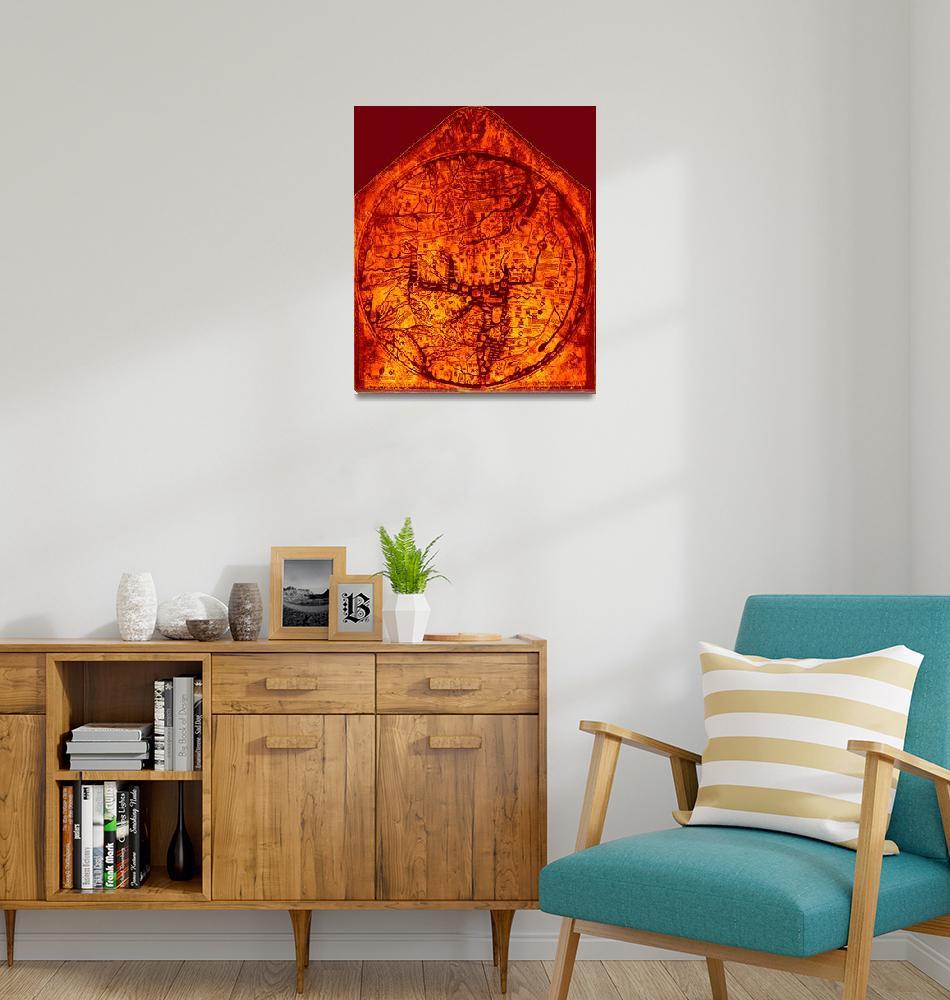 """""""Hereford Mappa Mundi 1300 Enhanced Dark Red Corner""""  (2014) by TheNorthernTerritory"""