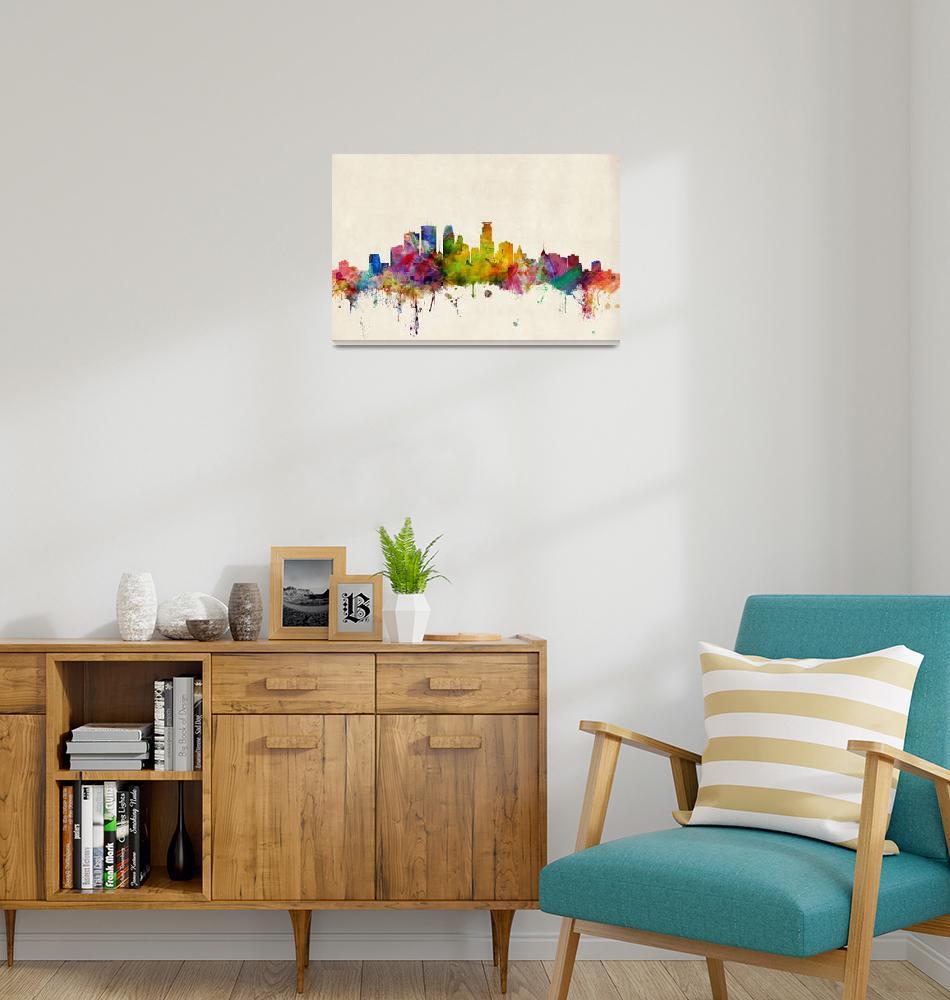 """Minneapolis Minnesota Skyline""  (2013) by ModernArtPrints"