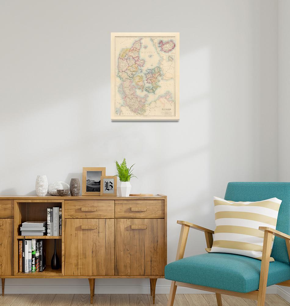 """""""Vintage Map of Denmark & Iceland (1884)""""  by Alleycatshirts"""