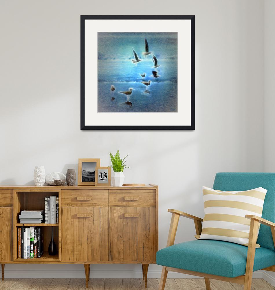 """""""Seagulls on the beach - Choco Colombia""""  (2015) by plinio"""