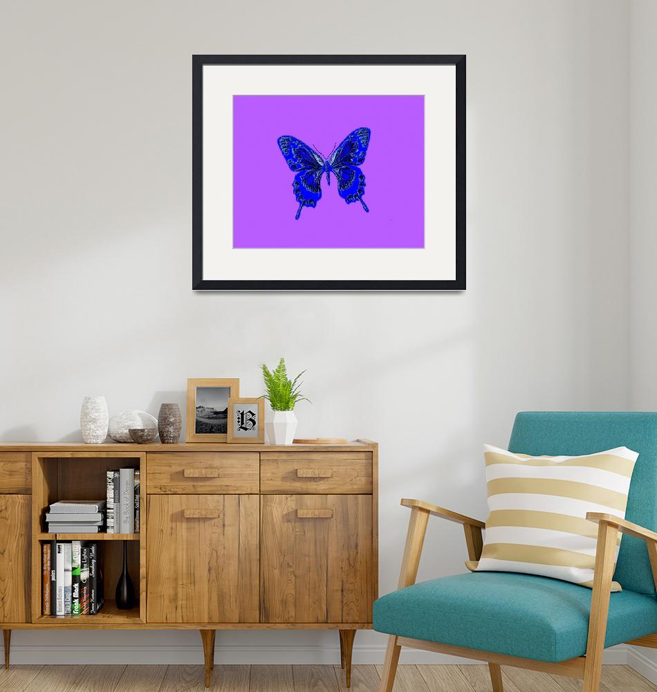 """Blue Indigo Butterfly Lavender Background""  (2013) by TheNorthernTerritory"