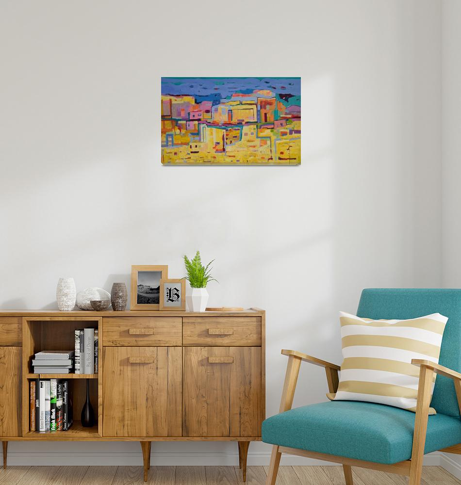 """""""Abstract Landscape Maroco Cityscape Yellow Blue""""  (2019) by Maggy"""