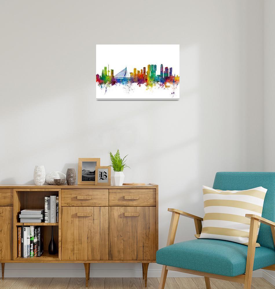 """Rotterdam The Netherlands Skyline""  (2015) by ModernArtPrints"