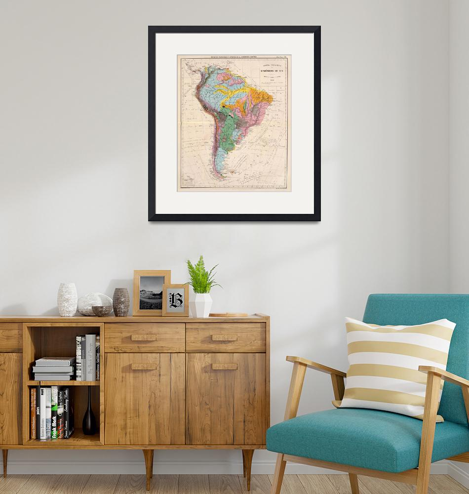 """""""Vintage Geological Map of South America (1873)""""  by Alleycatshirts"""
