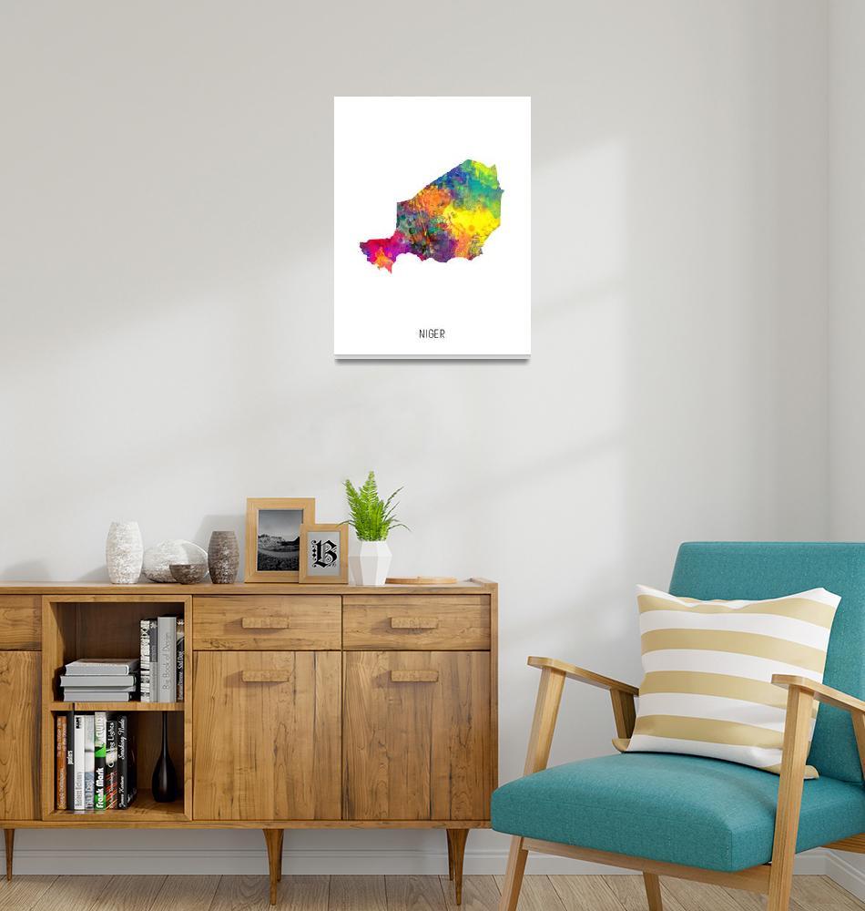 """Niger Watercolor Map""  (2019) by ModernArtPrints"