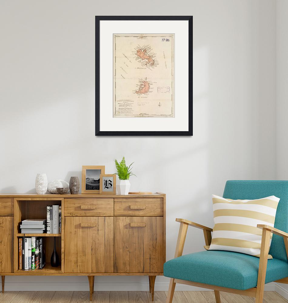 """Vintage Map of St Lucia & Martinique (1781)""  by Alleycatshirts"