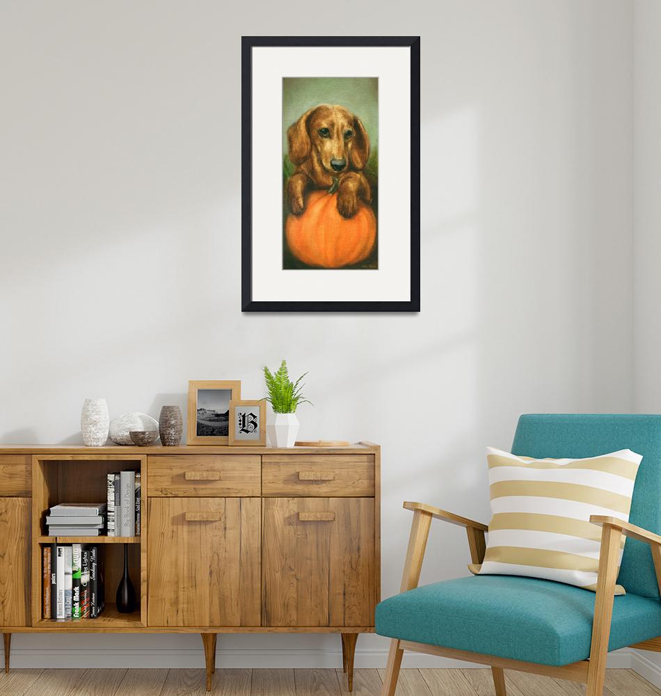 """Pick Me! Dachshund Puppy and a pumpkin by Violano""  (2011) by stella"