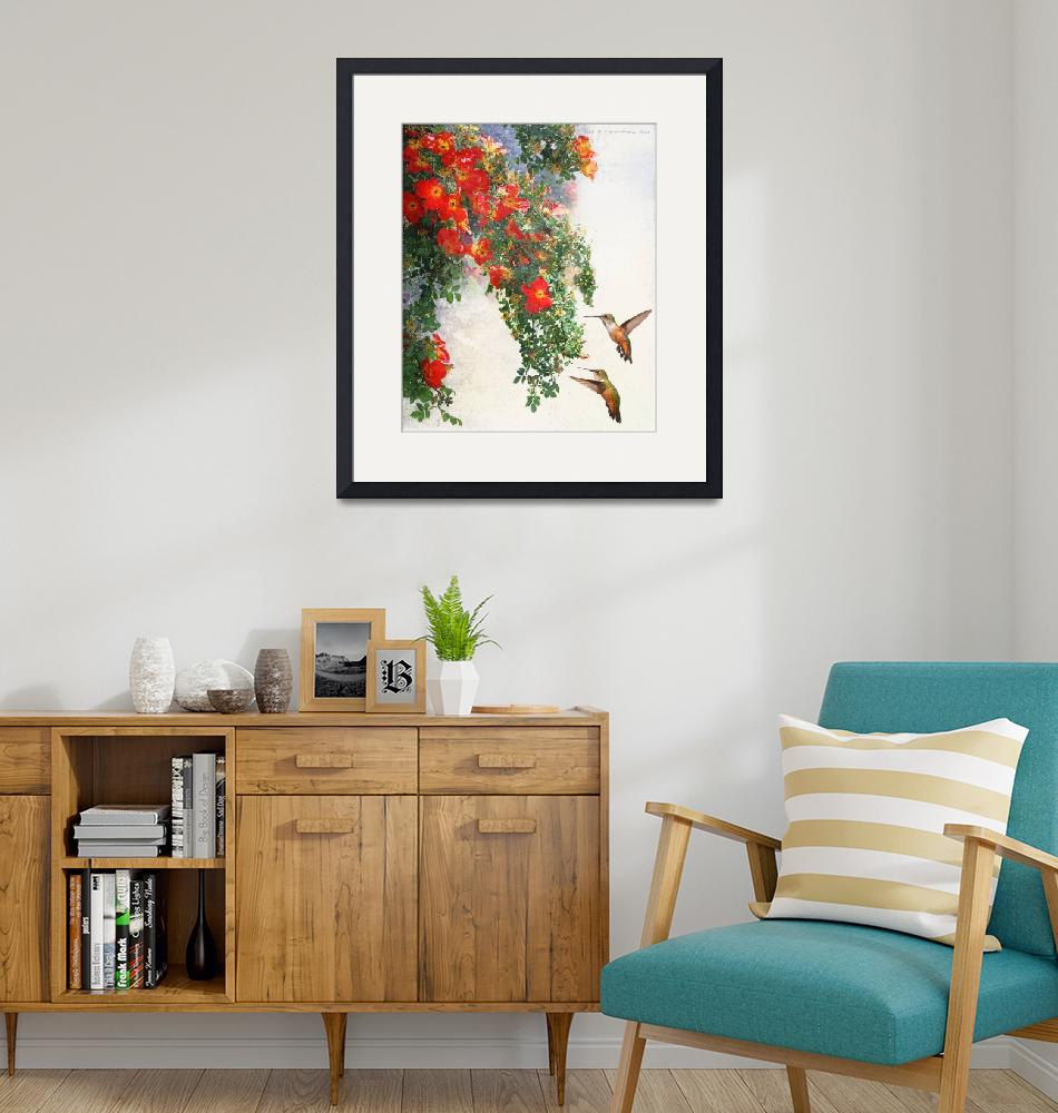 """""""hanging red roses with twin hummers""""  (2018) by rchristophervest"""