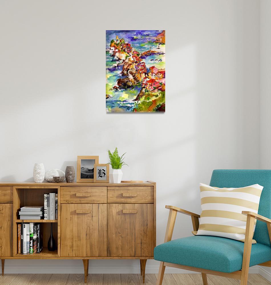 """Vernazza Italy Cinque Terre Watercolor""  (2007) by GinetteCallaway"