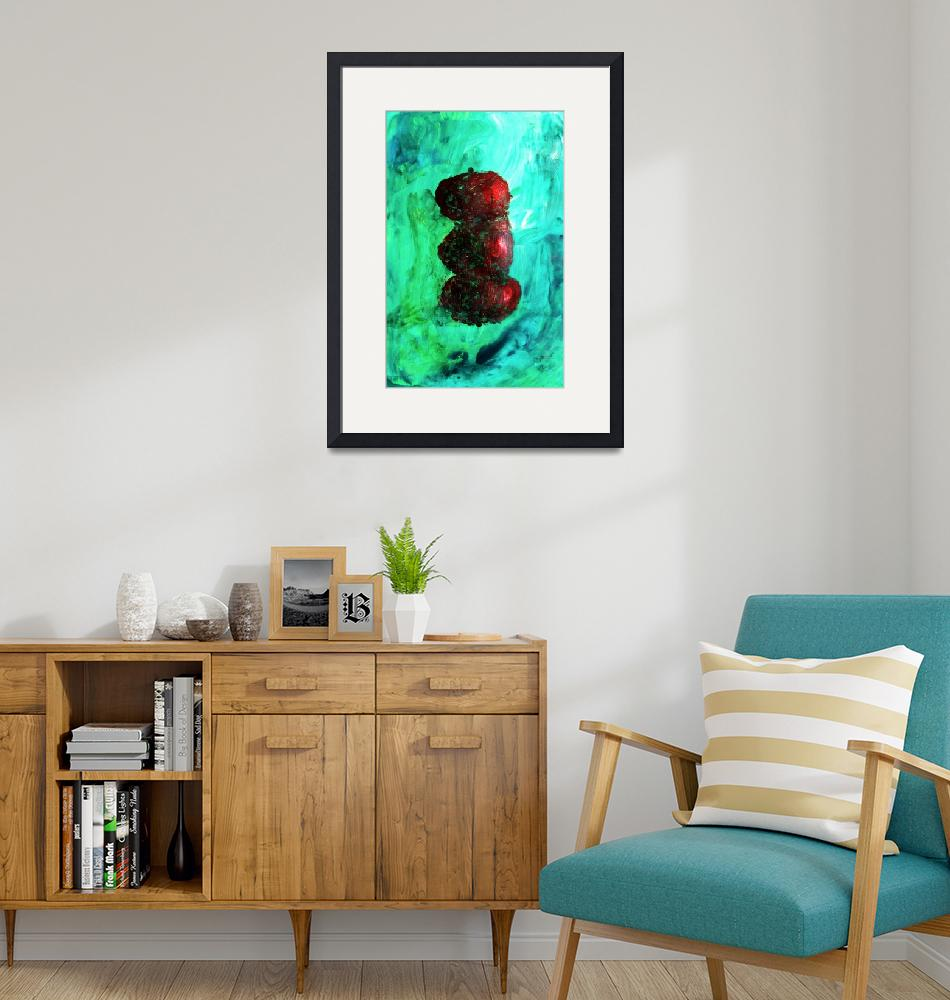 """""""Still LIfe Red Apples Stacked on Green Table and W""""  (2012) by ExclusiveCanvasArt"""