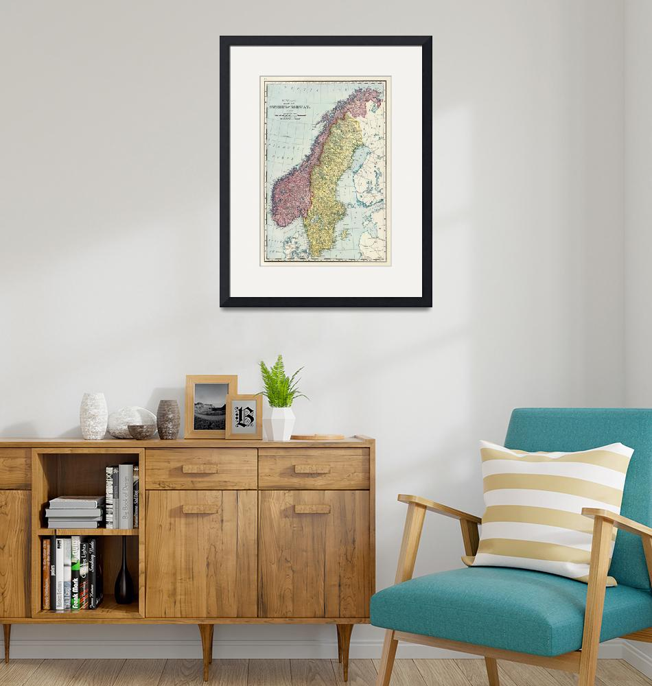 """Vintage Map of Norway and Sweden (1895)""  by Alleycatshirts"