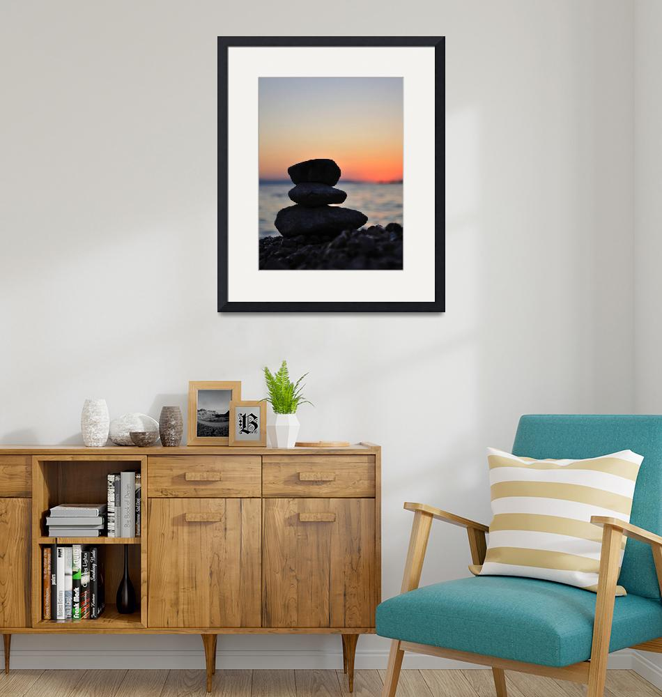 """""""Silhouette of three zen rocks on the beach""""  (2012) by creative_photography"""