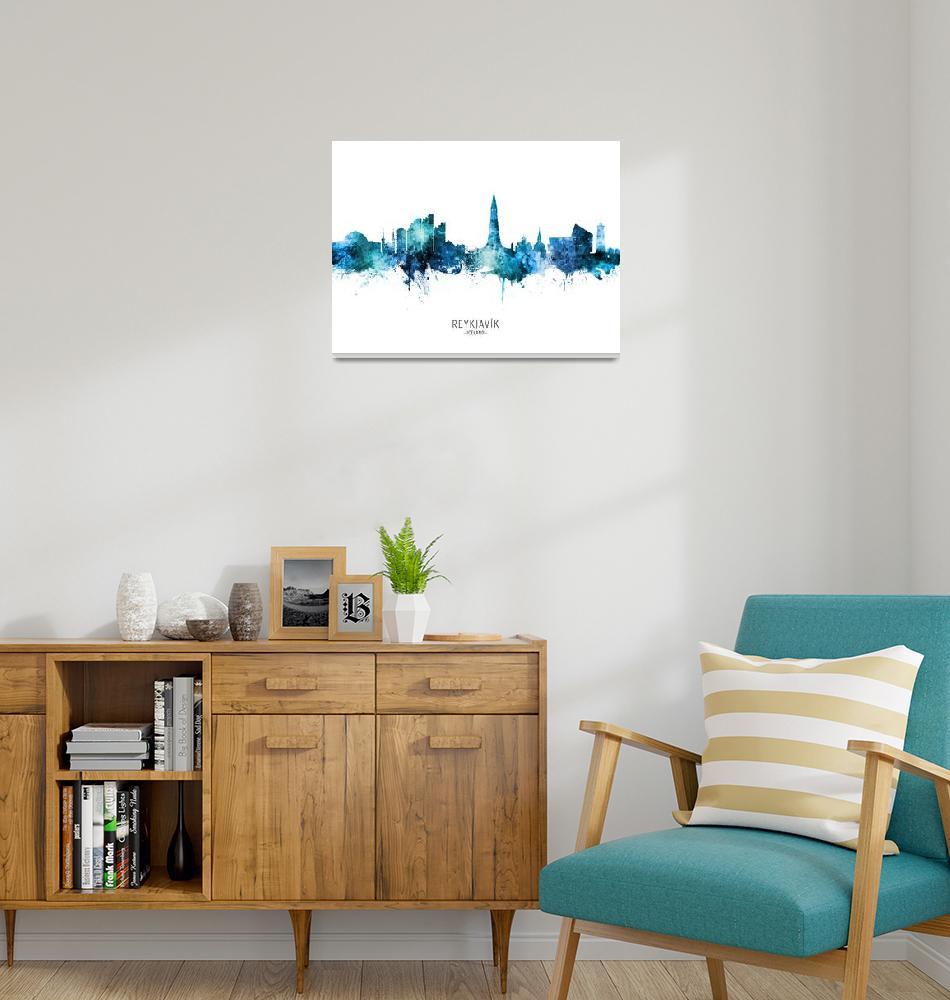 """""""Reykjavík Iceland Skyline""""  (2020) by ModernArtPrints"""