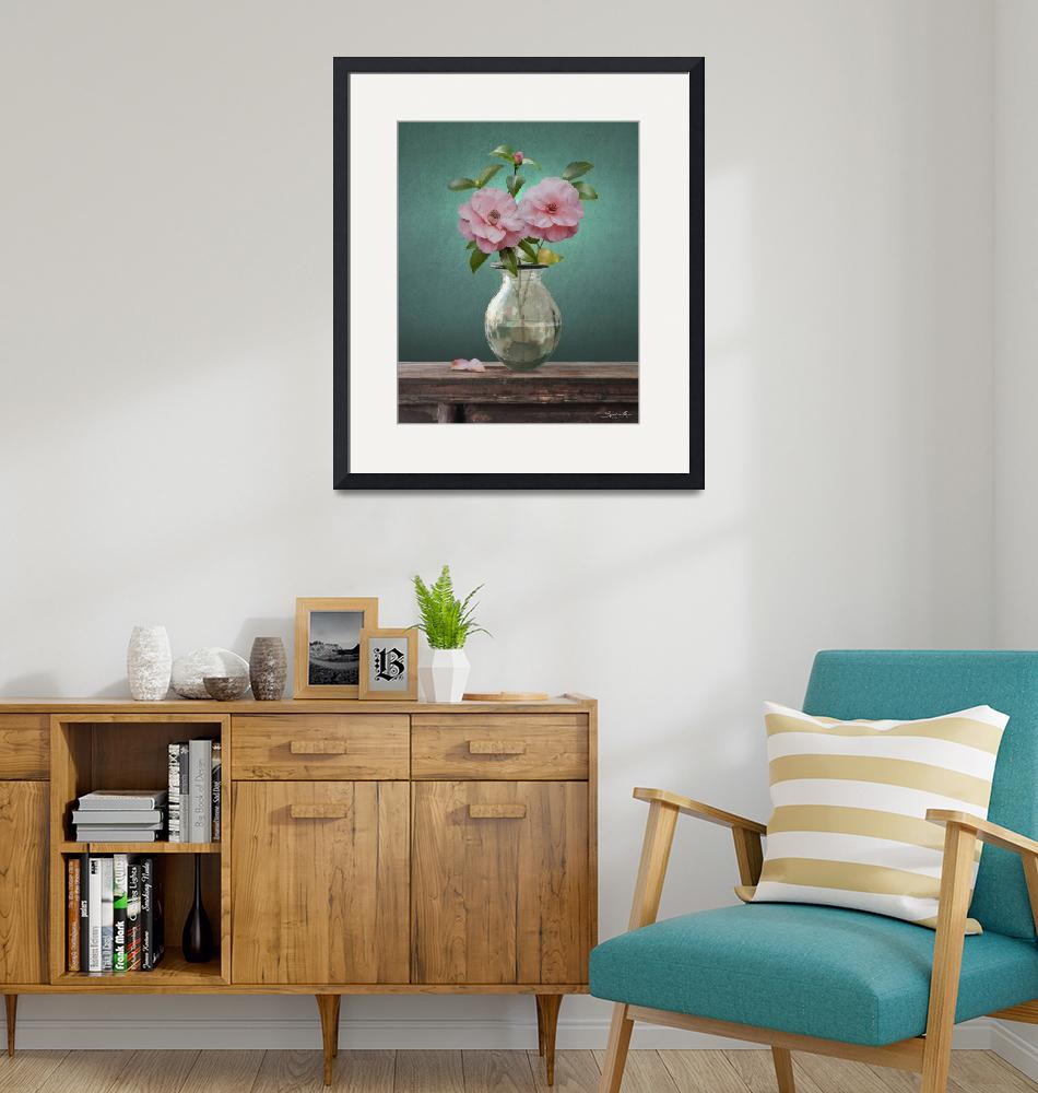 """""""Camellia Flowers in Glass Vase""""  (2021) by spadecaller"""
