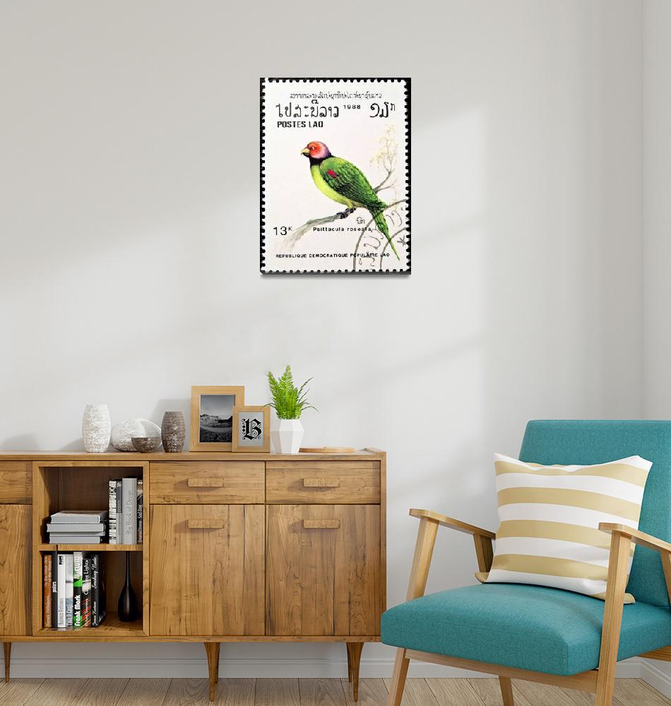 """Blossom-headed Parakeet bird stamp.""  by FernandoBarozza"