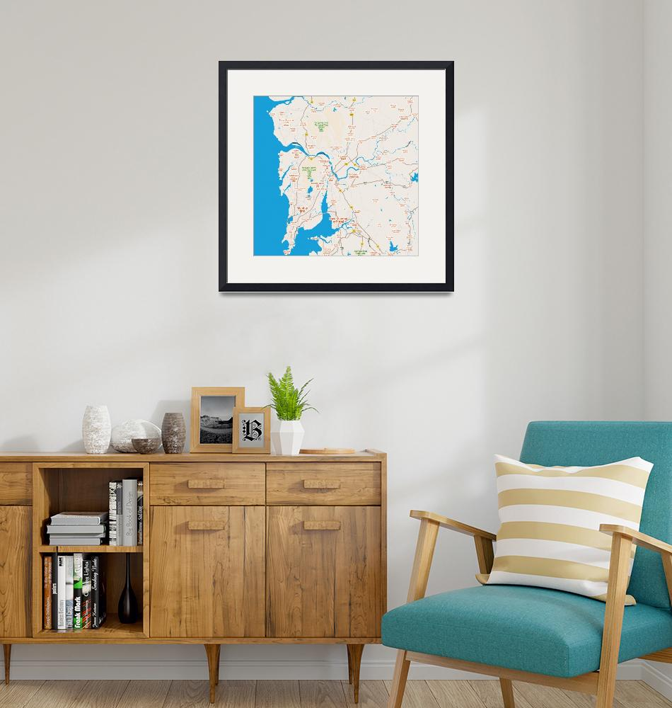 """Minimalist Modern Map of Mumbai, India 6""  by motionage"