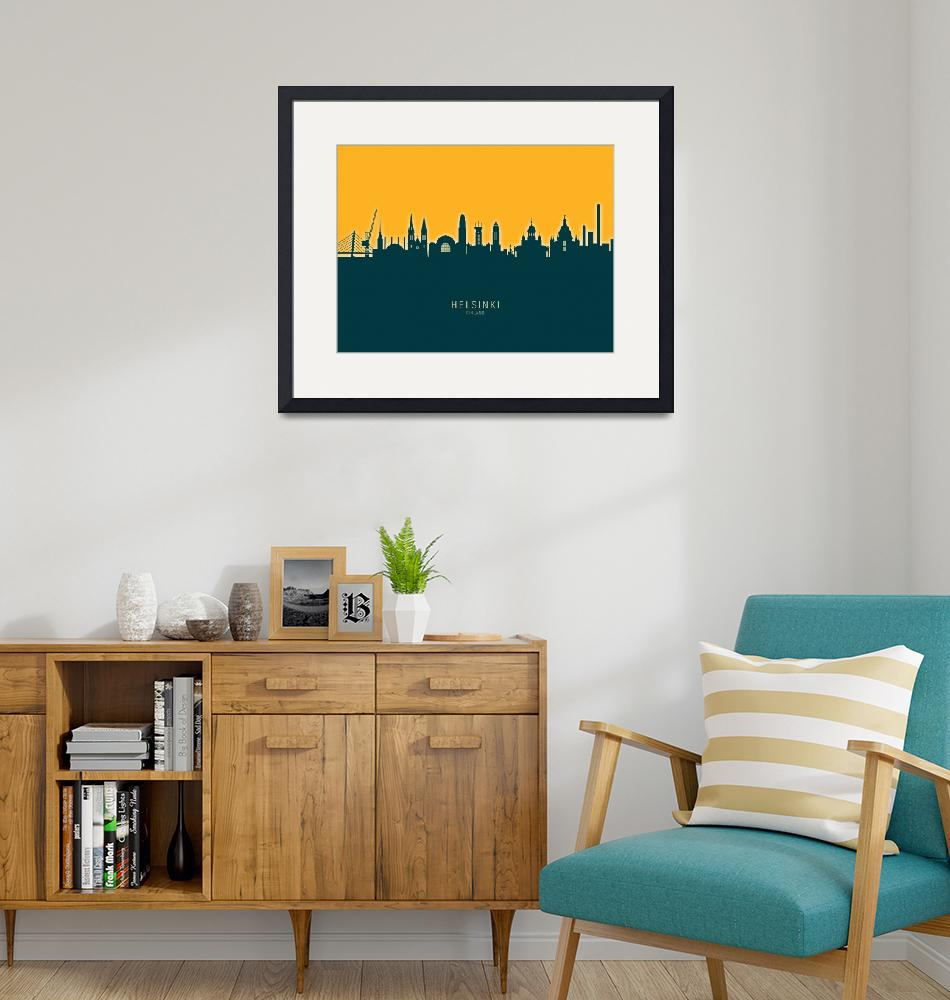 """Helsinki Finland Skyline""  (2020) by ModernArtPrints"