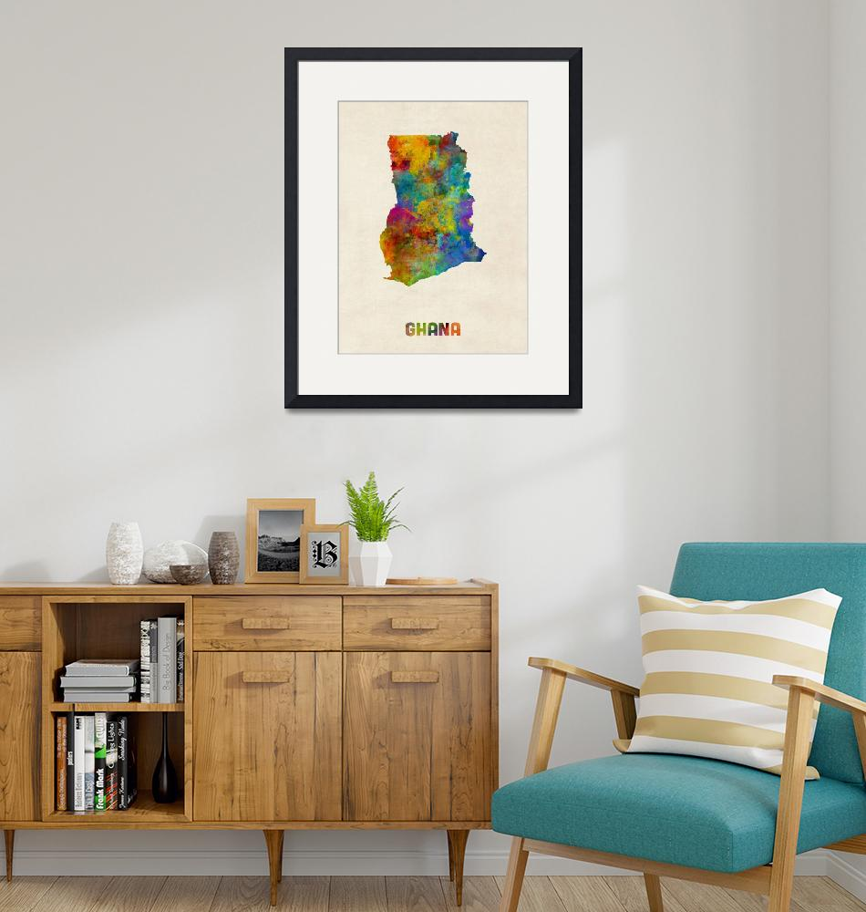 """Ghana Watercolor Map""  (2015) by ModernArtPrints"