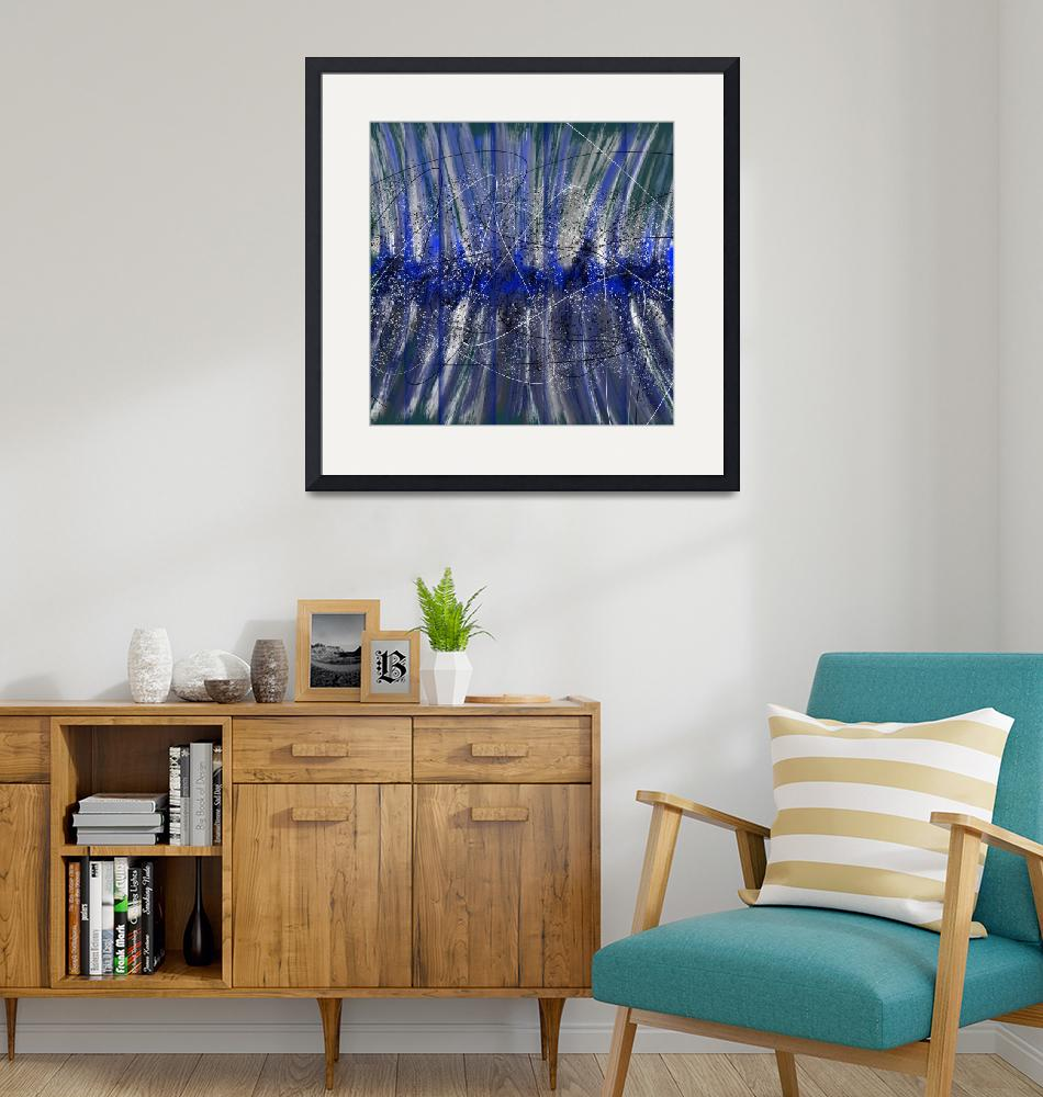 """""""Blue Atom   Abstract Art Canvas Print"""" (2020) by CocoCanvas"""
