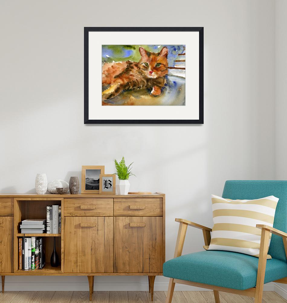 """""""Cat King, Watercolor Painting Animal Orange Ginger""""  (2008) by schulmanart"""