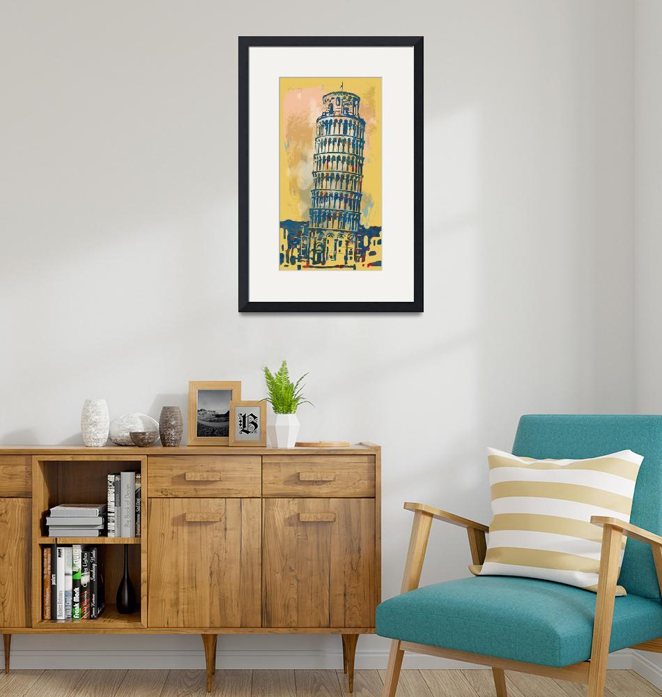 """""""Leaning Tower Of Pisa - Pop Stylised Art Poster""""  (2014) by visualharbour"""