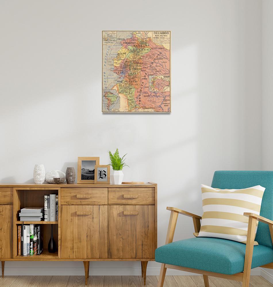 """""""Vintage Map of Ecuador (1913)""""  by Alleycatshirts"""