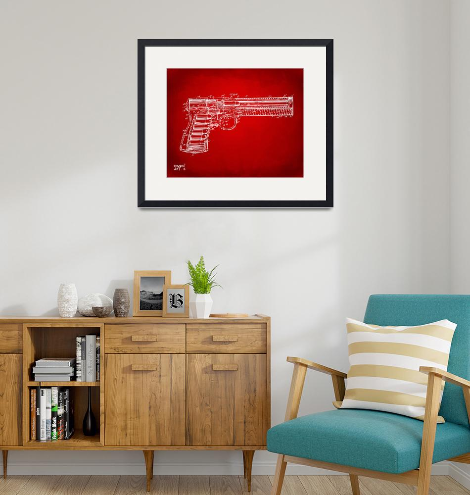 """""""1903 Mcclean Pistol Patent Minimal Red""""  by nikkismith"""