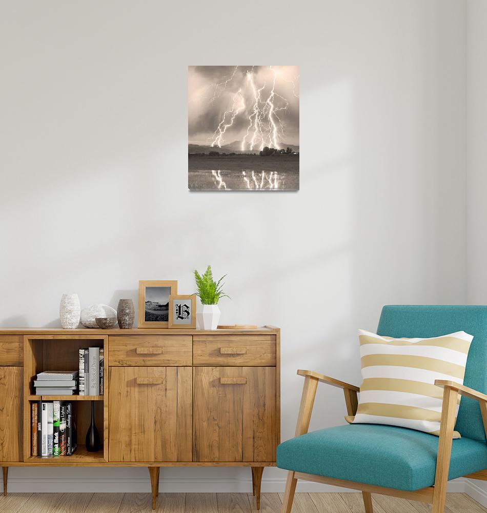 """Lightning Striking Longs Peak Foothills 4C Sepia""  (2012) by lightningman"