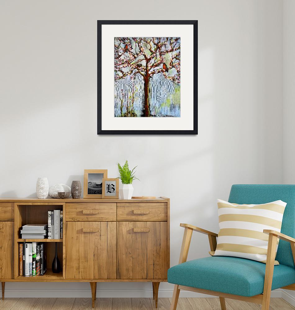 """""""Tree With Blossoms and Robins Art""""  (2011) by BlendaStudio"""