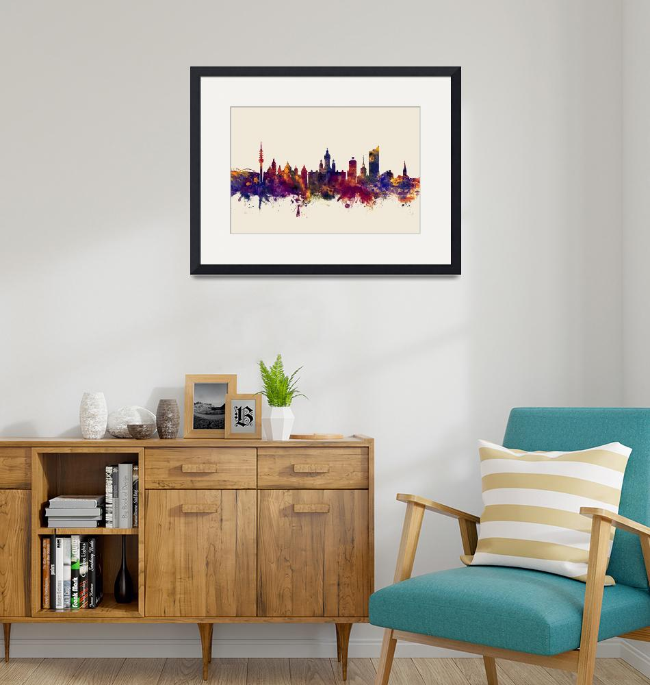 """Leipzig Germany Skyline""  (2017) by ModernArtPrints"