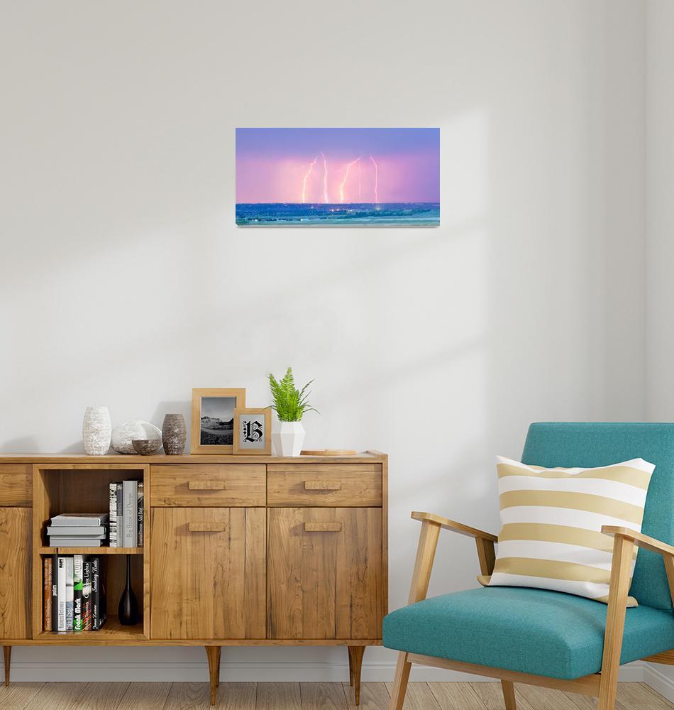 """Summer Thunderstorm Lightning Strikes Panorama""  (2013) by lightningman"