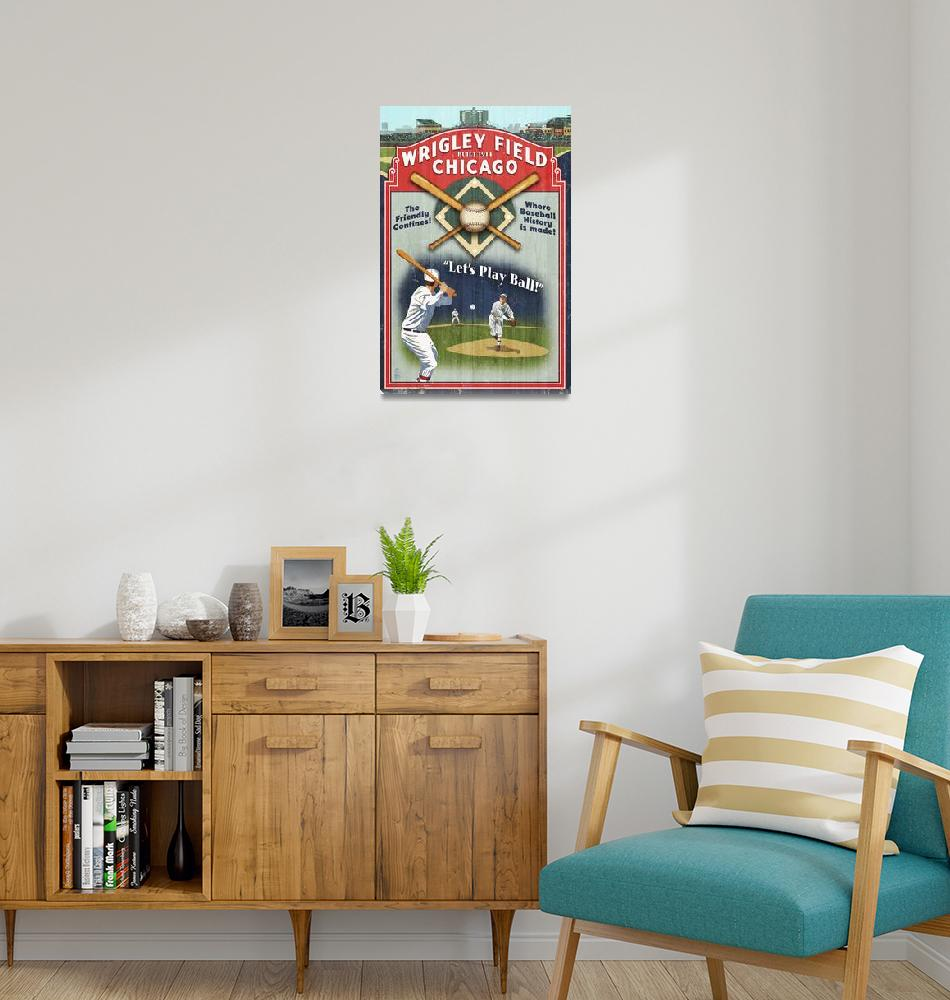 """Wrigley Field Vintage Baseball Poster""  by FineArtClassics"