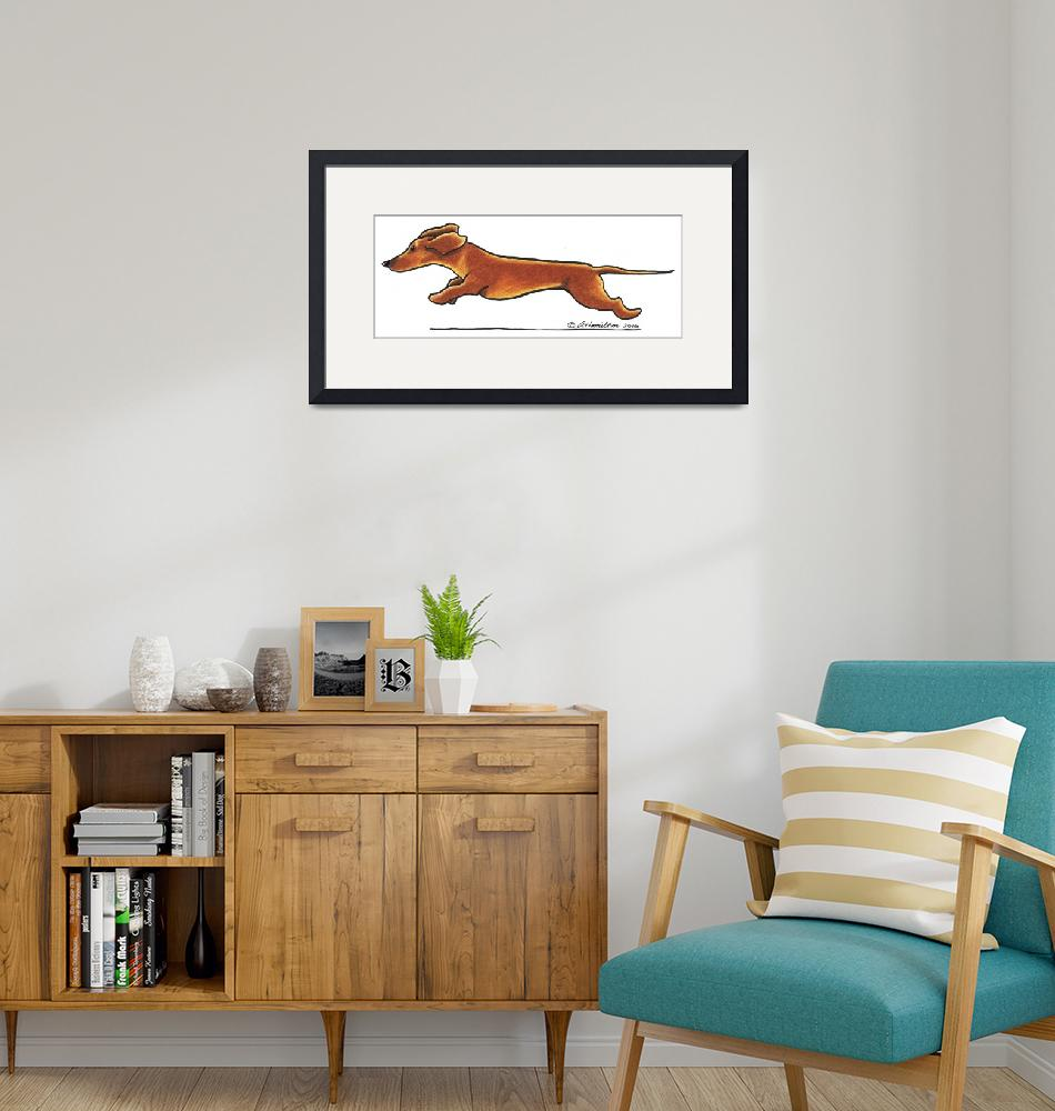 """Dachshund On The Run""  (2010) by OffLeashArt"