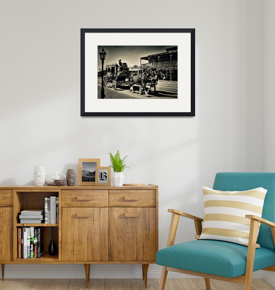 """""""Tombstone Stage Coach Sepia Print""""  by judimage"""