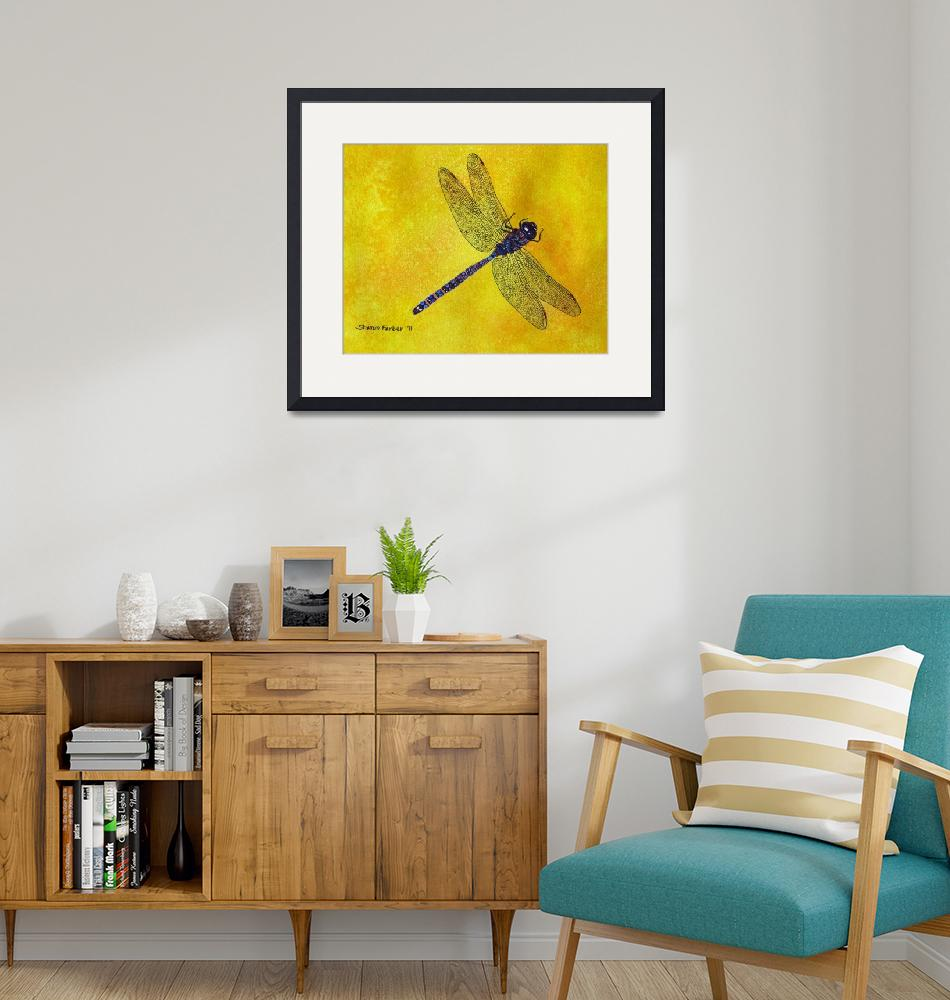 """""""Blue and Purple Dragonfly on Yellow""""  (2011) by PaintedPathWatercolors"""