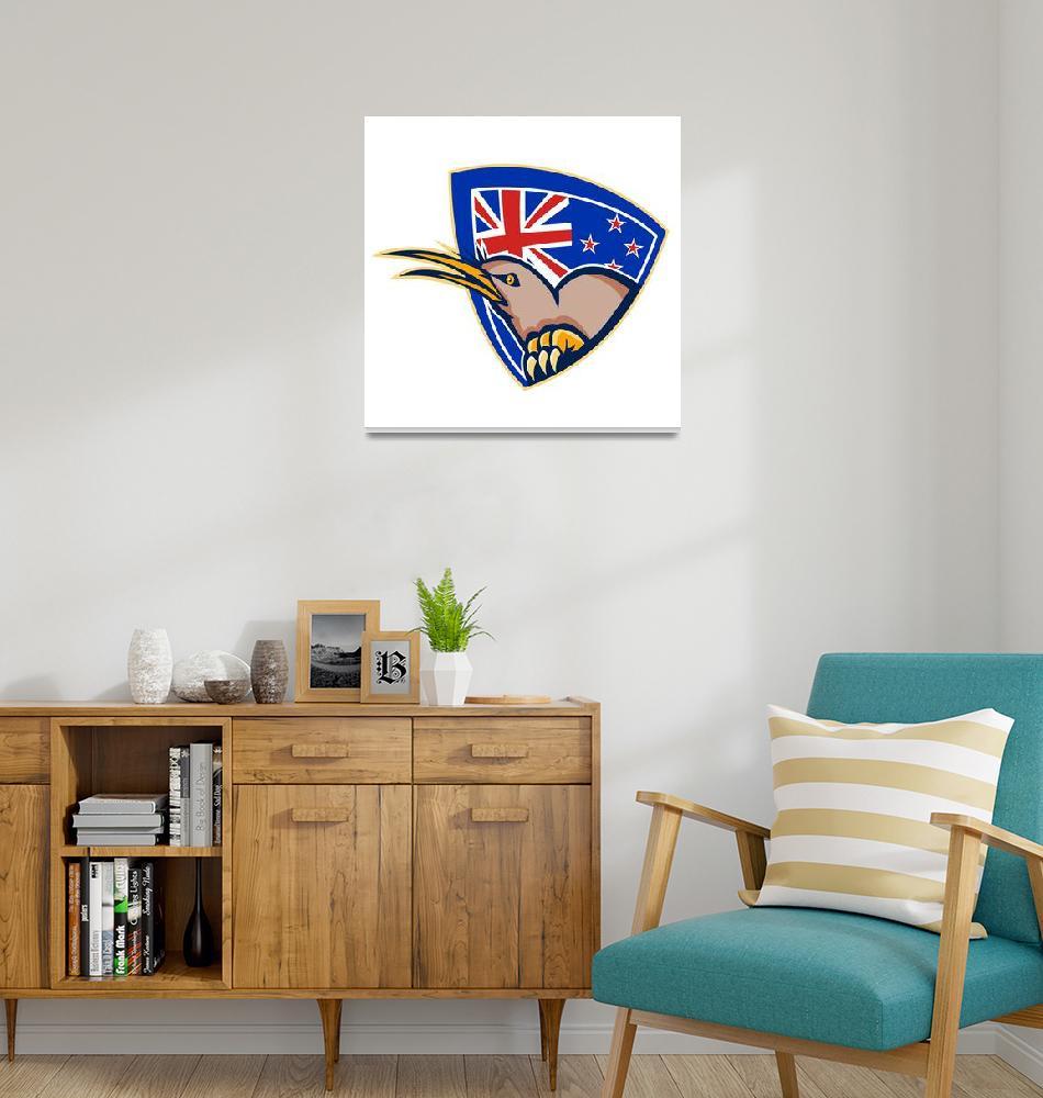 """""""Kiwi Bird New Zealand Flag Shield Retro""""  (2013) by patrimonio"""