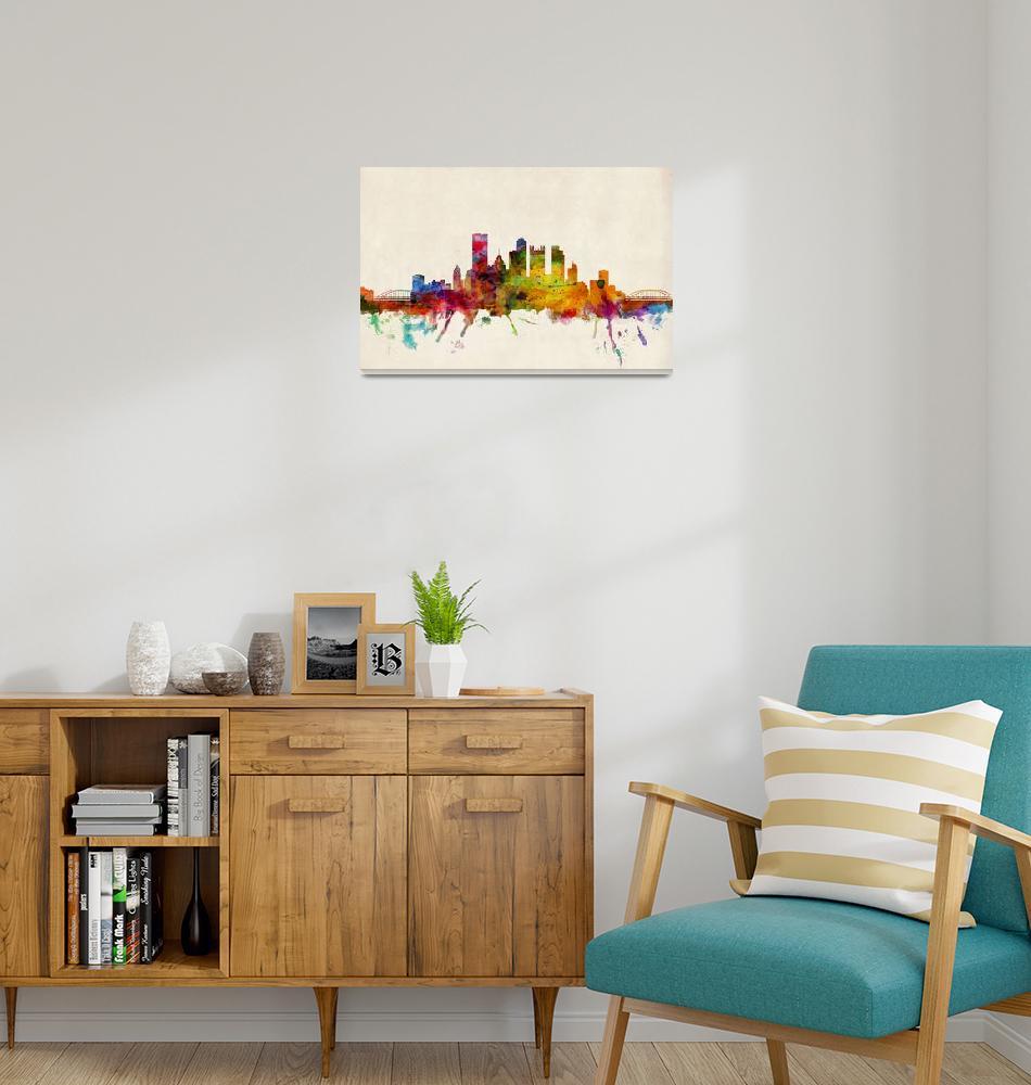 """Pittsburgh Pennsylvania Skyline"" (2013) by ModernArtPrints"